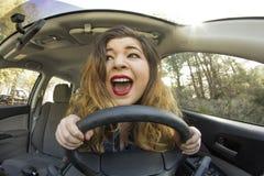 Ansiktsuttryck för bilkrasch Arkivfoto