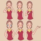 Ansiktsuttryck ställer in kvinna flicka vektor, uttrycksavatarteckenet, frågar den lyckliga mamman förlåtelse som är ledset som ä Arkivfoton