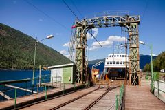 Anslöt den järnväg färjan för MF Storegut på den Mael Rjukan-Notodden UNESCO arkivfoto