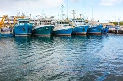 Anslöt fiskebåtar. Arkivbild