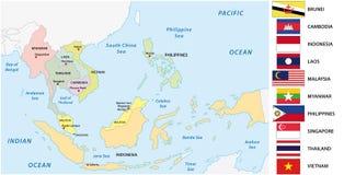 Anslutning av sydostliga asiatiska nationer & x28; ASEAN& x29; översikt med flaggor vektor illustrationer