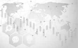 Anslutning för det globala nätverket automatiserade servicehjälp och nätverksdesignbegrepp med Wireframe stock illustrationer