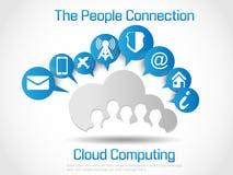 Anslutning för folk för bakgrund för moln beräknande infographic Arkivbild