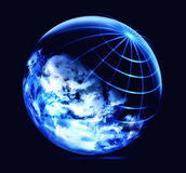 Anslutning för globalt nätverk, vetenskap och teknikbegrepp stock illustrationer