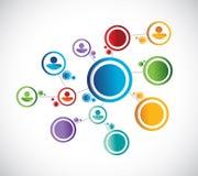 Anslutning för nätverk för färgfolkdiagram vektor illustrationer