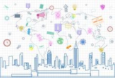 Anslutning för nätverk för samkvämMedia Communication internet över Cityscape för stadsskyskrapasikt och kvadrerad världskarta royaltyfri illustrationer