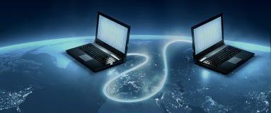 Anslutning för optisk fiber för world wide web Arkivbild