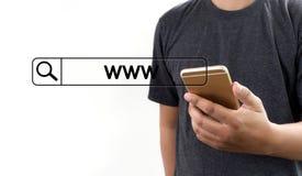 Anslutning för webbläsare för dator för webbsida för WWW Websiteonline-internet Arkivfoton