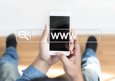 Anslutning för webbläsare för dator för webbsida för WWW Websiteonline-internet Arkivfoto