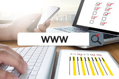 Anslutning för webbläsare för dator för webbsida för WWW Websiteonline-internet Royaltyfri Bild