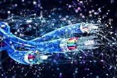 Anslutning med den optiska fibern Begrepp av den snabba internet 3d framför royaltyfri illustrationer