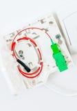 Anslutning som inhyser till den optiska fibern Arkivfoton
