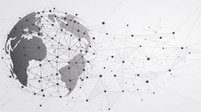 Anslutningar för globalt nätverk med punkter och linjer stock illustrationer