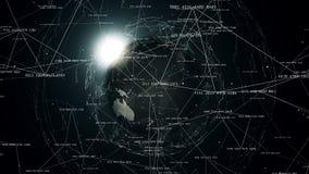 Anslutningar för globalt nätverk runt om jorden, 4k royaltyfri illustrationer
