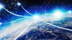 Anslutningar system och datautbyten på planetjord 3D framför Royaltyfri Bild