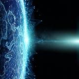 Anslutningar system och datautbyten på planetjord 3D framför Fotografering för Bildbyråer