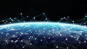 Anslutningar system och datautbyten på planetjord 3D framför Arkivfoton