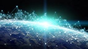Anslutningar system och datautbyten på planetjord 3D framför Arkivfoto