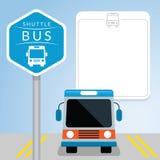 Anslutningsbuss med tecknet, Front View Arkivbild