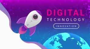 Anslutningslinjer för Digital teknologi runt om jordjordklotet Rocket Flying fr?n jord till utrymme stock illustrationer