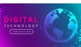 Anslutningslinjer för Digital teknologi runt om jordjordklotet royaltyfri illustrationer