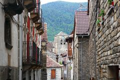 Anso Village street stone houses in Pyrenees Royalty Free Stock Photography