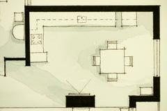 Anspornendes Schwarzweiss-Aquarell- und Tintenanschauungsmaterial, Eigentumswohnungswohnung flachen teilweisen Grundriss zeigend Lizenzfreies Stockbild