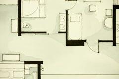 Anspornendes Schwarzweiss-Aquarell- und Tintenanschauungsmaterial, Eigentumswohnungswohnung flachen teilweisen Grundriss zeigend Stockbilder