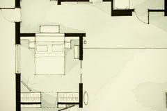 Anspornendes Schwarzweiss-Aquarell- und Tintenanschauungsmaterial, Eigentumswohnungswohnung flachen teilweisen Grundriss zeigend Stockbild