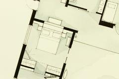 Anspornendes Schwarzweiss-Aquarell- und Tintenanschauungsmaterial, Eigentumswohnungswohnung flachen teilweisen Grundriss zeigend Stockfoto