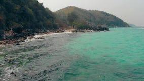 Anspornungshügel mit grünem dichtem Wald nahe endlosem Ozean stock video