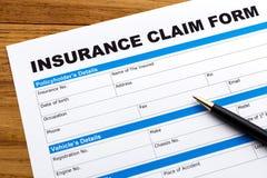 Anspruch auf Versicherungsleistungen Formular Stockfoto