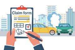 Anspruch auf Versicherungsleistungen Formular Unfallkonzept stock abbildung