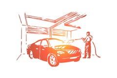 Anställd för bilomsorgstation, slang för underhållsarbetarinnehav, rengörande process för tryck royaltyfri illustrationer