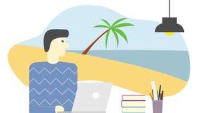 Anställd föreställer eller drömma ferie i strand och koppla av i vektor för havsvatten stock illustrationer