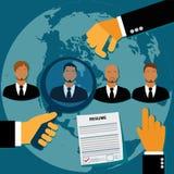 Anställd rekrytering, människa, resurs, val, intervju, analys, apps Royaltyfria Bilder