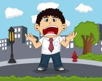 Anställd som skriker på vägen med stadsbakgrundstecknade filmen vektor illustrationer