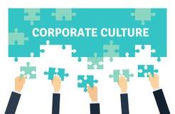 Anställda som tillsammans rymmer och förbinder pusselstycken För vektorillustration n för företags kultur och teamworklägenheten  vektor illustrationer