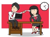 Anställdanställd diskuterar arbete royaltyfri illustrationer