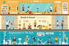 Anställning för svett för avkopplingavbrott A i rengöringsduken för begrepp för idrottshalllägenhet den inre utomhus- royaltyfri illustrationer