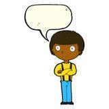 anstarrender Junge der Karikatur mit den gefalteten Armen mit Spracheblase Stockbild