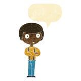 anstarrender Junge der Karikatur mit den gefalteten Armen mit Spracheblase Lizenzfreies Stockfoto