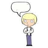 anstarrender Junge der Karikatur mit den gefalteten Armen mit Spracheblase Lizenzfreie Stockfotos