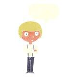 anstarrender Junge der Karikatur mit den gefalteten Armen mit Spracheblase Lizenzfreie Stockbilder