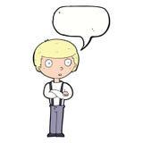 anstarrender Junge der Karikatur mit den gefalteten Armen mit Spracheblase Lizenzfreies Stockbild