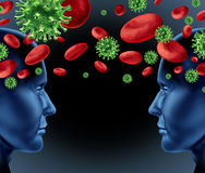 Ansteckendes Virus im Blut Stockfoto