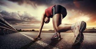 Anstellen des Läufers Stockfotos