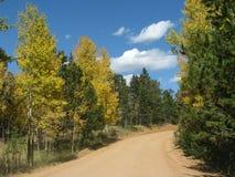 Anstreben ein sonniges Herbst-Laufwerk stockbilder