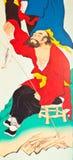 Anstrich der chinesischen Art der Kunst auf der Wand im Tempel Stockbild
