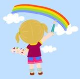 Anstrich des kleinen Mädchens Stockbilder